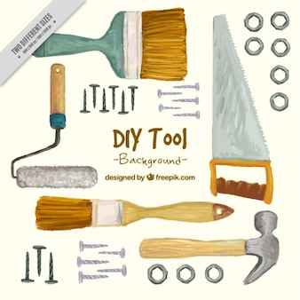 Hand painted background about carpentry tools