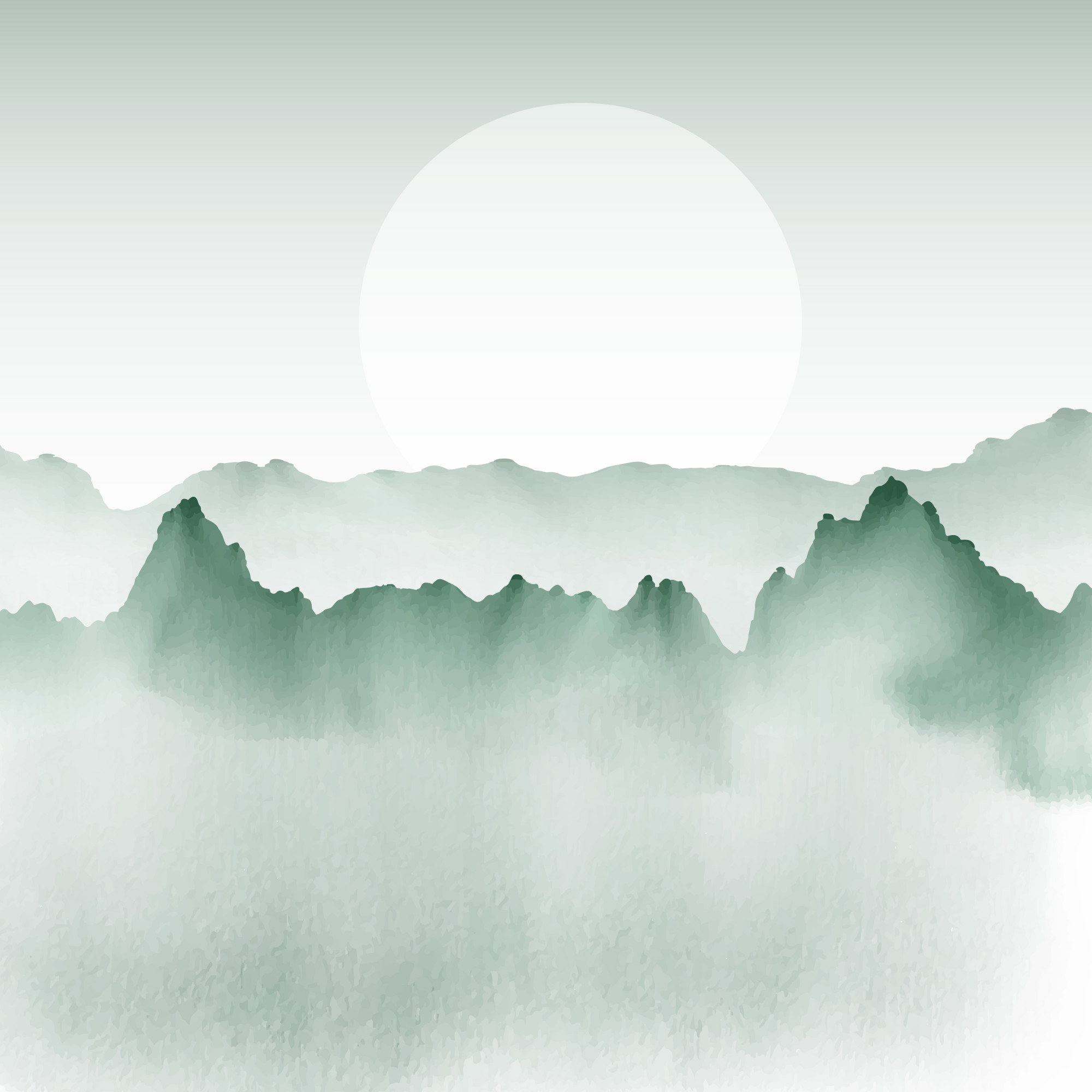 Hand painted background of a mountain landscape
