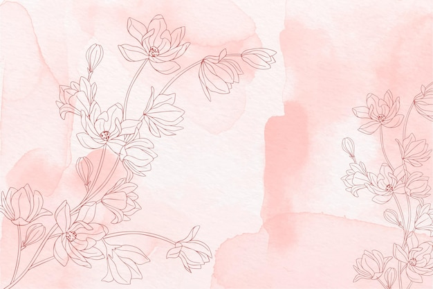 Hand painted background with drawn flowers