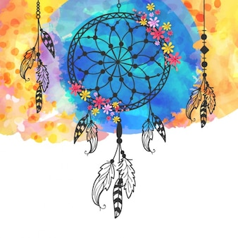 Hand-painted background with dreamcatchers