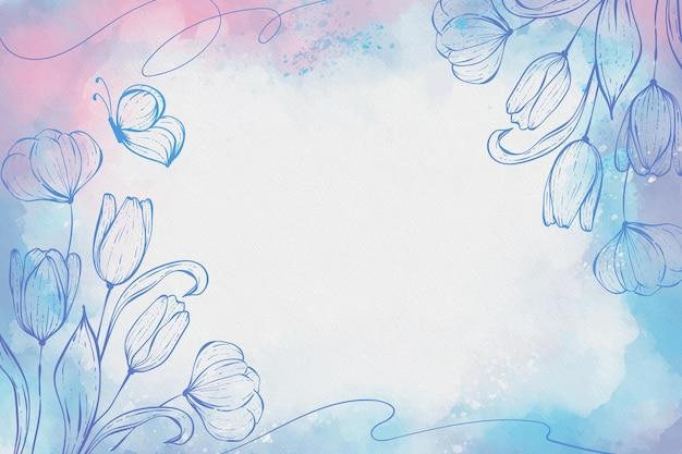 花の詳細と手描きの背景