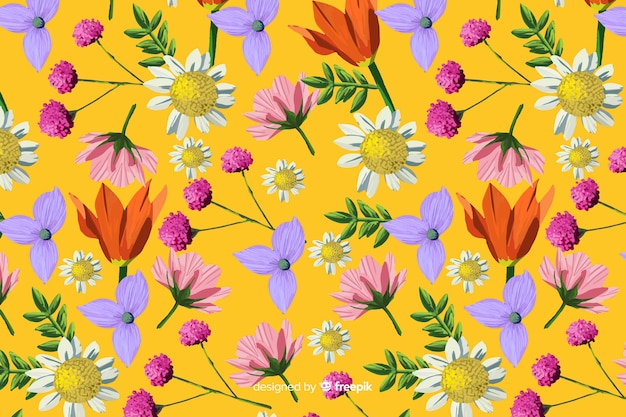 Hand painted background with flowers