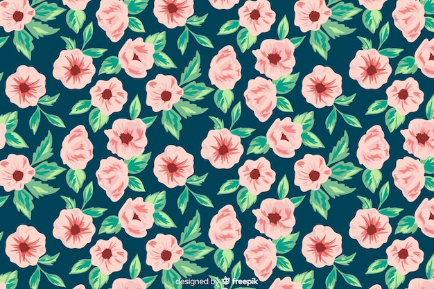 Hand painted background with pink flowers