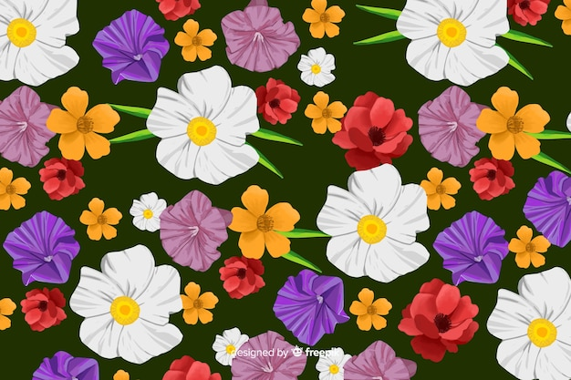 Hand painted background with white flowers