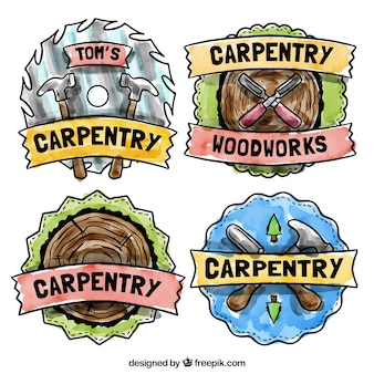 Hand painted badges for carpentry topics