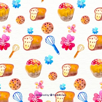 Hand painted bakery pattern Free Vector