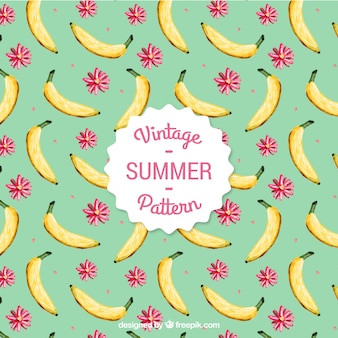 Hand painted banana and flowers pattern in vintage style