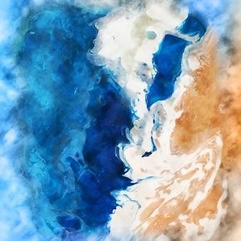 手描きのビーチシーン水彩背景