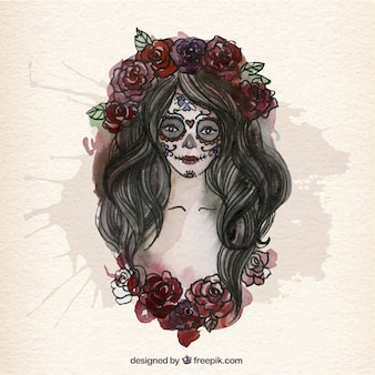 Hand painted beautiful catrina skull Premium Vector