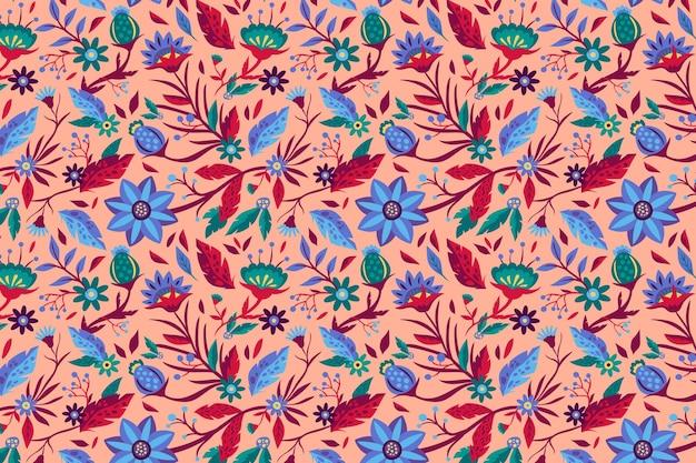 손으로 그린 아름다운 이국적인 꽃 패턴