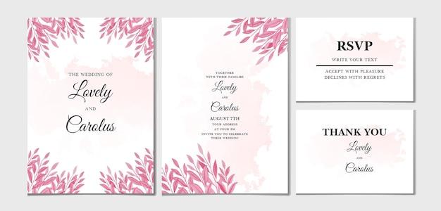 Ручная роспись красивых цветочных и листьев свадебного приглашения card