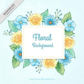手描きの青と黄色の花の背景