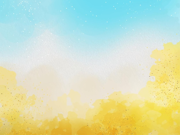 Hand painted blue and gold watercolor texture background