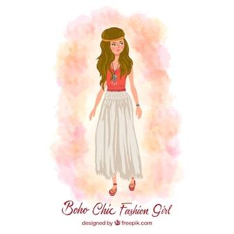 Hand painted boho chic girl