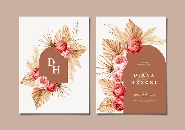 Приглашение на свадьбу в стиле бохо с ручной росписью
