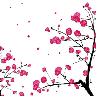 Hand painted branches of pink plum blossom background