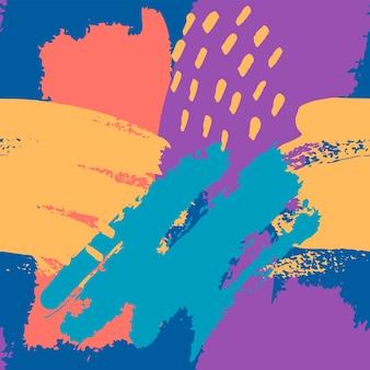 파란색, 노란색, 파란색, 산호로 손으로 그린 브러시 스트로크. 원활한 벡터 추상 패턴, 텍스처 브러시 획 및 반점의 배경, 패브릭 디자인을 위한 점, 다양한 웹 디자인