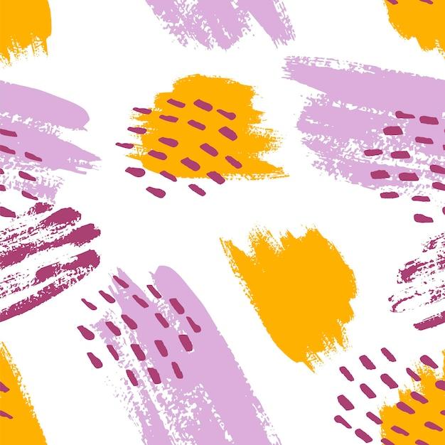 겨자, 보라색, 라일락, 흰색으로 손으로 칠한 브러시 스트로크. 원활한 벡터 추상 패턴, 텍스처 브러시 획 및 반점의 배경, 패브릭 디자인을 위한 점, 다양한 웹 디자인 프리미엄 벡터
