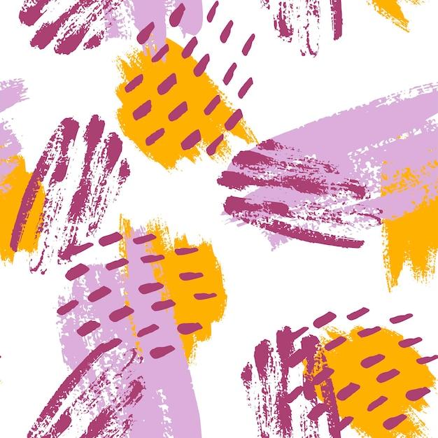 겨자, 보라색, 라일락, 흰색으로 손으로 칠한 브러시 스트로크. 원활한 벡터 추상 패턴, 텍스처 브러시 획 및 반점의 배경, 패브릭 디자인을 위한 점, 다양한 웹 디자인