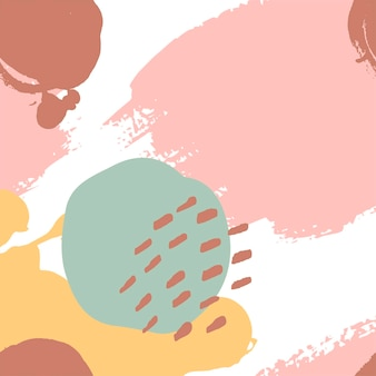 분홍색, 겨자, 민트, 갈색, 흰색으로 손으로 칠한 브러시 스트로크. 원활한 벡터 추상 패턴, 텍스처 브러시 획 및 반점의 배경, 패브릭 디자인을 위한 점, 다양한 웹 디자인