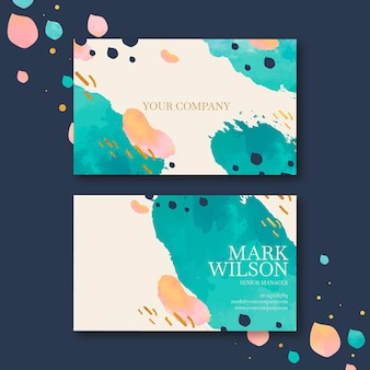 Hand painted business card template