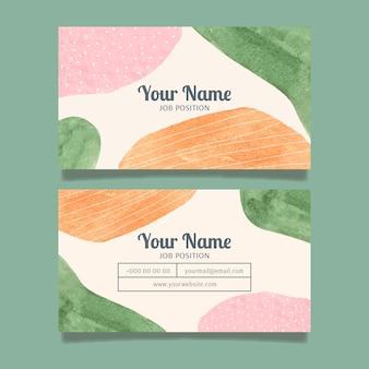Раскрашенный вручную шаблон визитных карточек с абстрактными формами