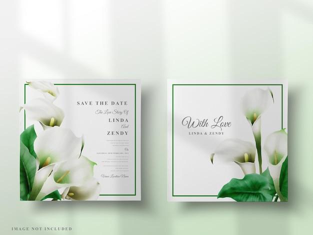 Раскрашенный вручную шаблон приглашения на свадьбу из кала лилии Premium векторы