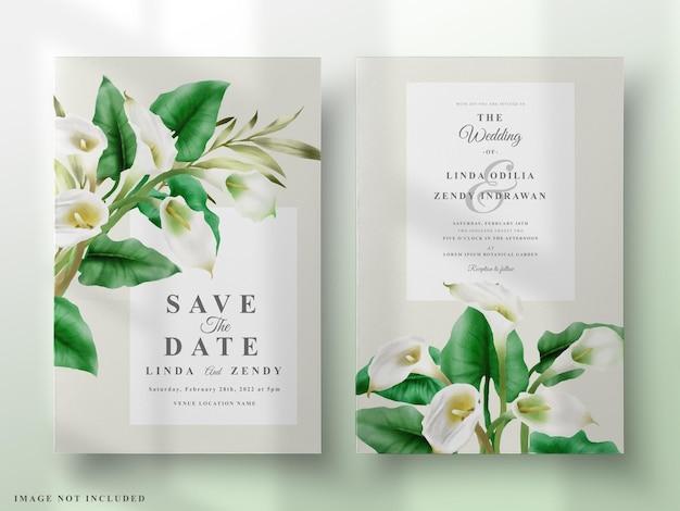 Раскрашенный вручную шаблон приглашения на свадьбу из кала лилии