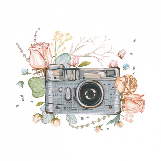Hand painted camera background