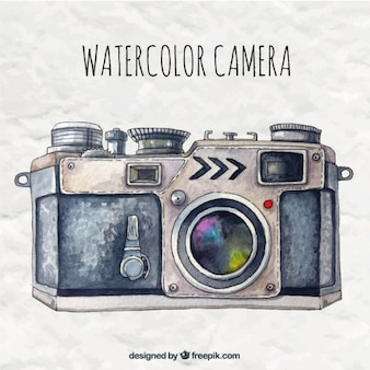 Hand painted camera in retro style