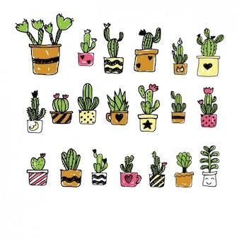 Окрашены мультфильм коллекция ручной кактус