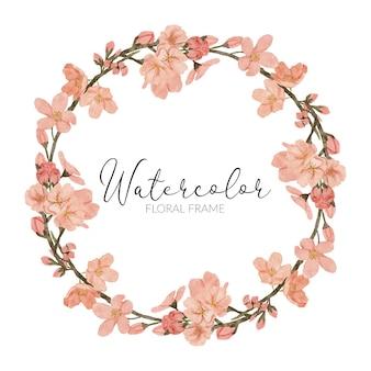 손으로 그린 벚꽃 꽃 그림 수채화 봄 원 프레임