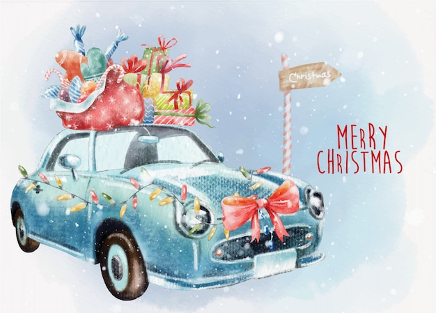 Hand painted christmas card with blue retro car