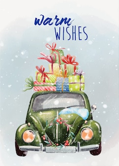 Hand painted christmas card with green retro car
