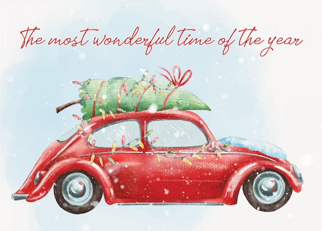 Hand painted christmas postcard with cute red retro car