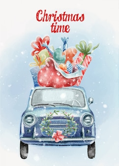 Hand painted christmas postcard with cute retro car and presents