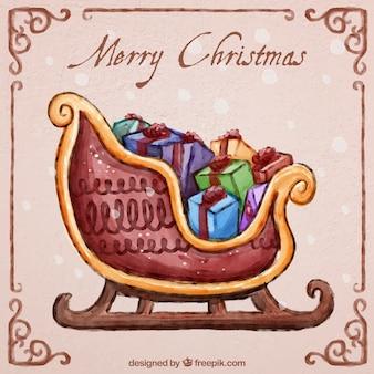 Ручная роспись рождество сани