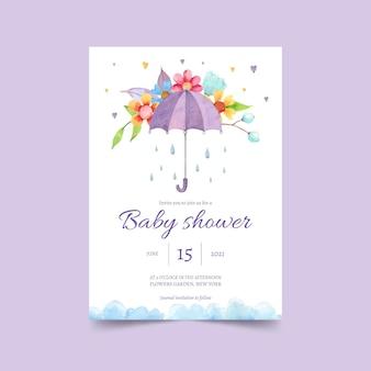 手描きのchuvadeamorベビーシャワーの招待カード