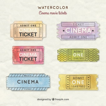 Hand painted cinema movie tickets