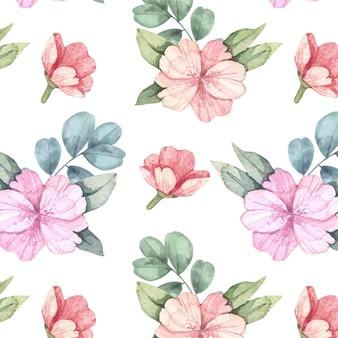 손으로 그린 화려한 식물 패턴