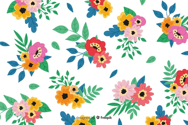 Hand painted colorful floral background