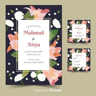 手描きのカラフルな花の結婚式の招待状のテンプレート