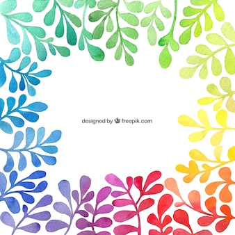 Hand painted colorful plants background