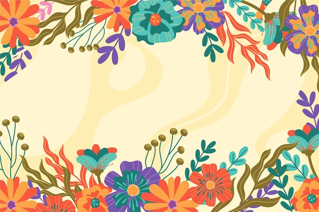 손으로 그린 다채로운 봄 배경