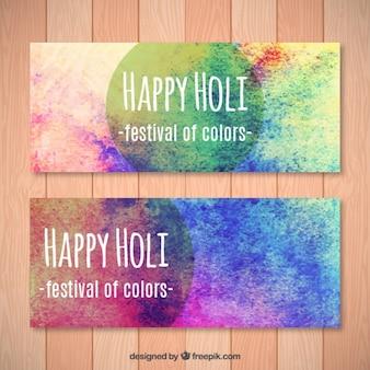 손으로 그린 색상 holi 축제 배너