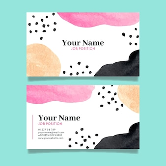 Hand painted company cards with abstract shapes