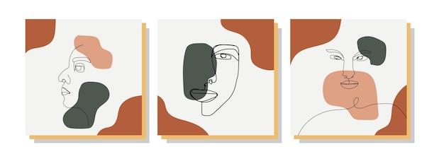 手描きの現代的な抽象的な創造的なミニマリストの顔のライン