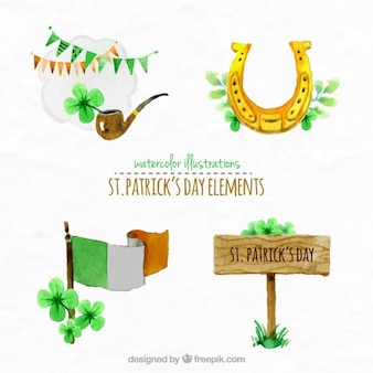 Hand painted cute elements of saint patrick's day