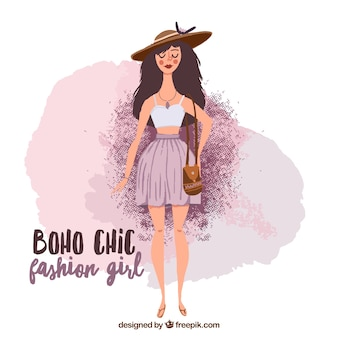 Hand painted cute fashion girl in boho style