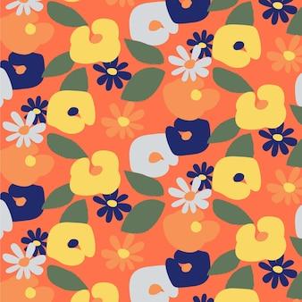 손으로 그린 귀여운 꽃 패턴